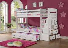Acme 37370 Harriet bee fulda allentown white finish wood twin over twin bunk bed set storage drawer steps trundle