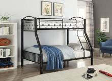 Acme 37380BK Harriet bee eder cayelyn black finish metal frame twin over full bunk bed