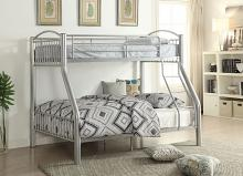 Acme 37380SI Harriet bee eder clayville cayelyn silver finish metal frame twin over full bunk bed