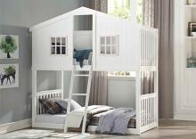 Acme 37410 Harriet bee rohan cottage white and pink finish wood playhouse style twin / twin bunk bed set