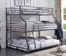 Acme 37450 Williston forge kemble caius II gunmetal finish triple twin over full over queen bunk bed set