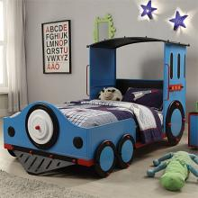 37560T Tobi blue finish metal frame train locomotive twin sie kids bed set
