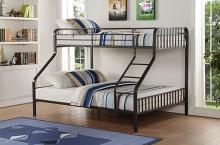 Acme 37605 Zoomie kids heibert caius gunmetal finish metal frame twin over queen bunk bed