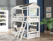 Acme 37665 Zoomie kids mila nadine cottage weathered white washed grey finish wood twin over twin bunk bed