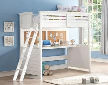 Acme 37670 Harriet bee arabella lacey white finish wood twin size loft bed desk bulletin boards