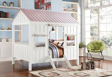 Acme 37695F Harriet bedd cianciolo mila spring cottage weathered white finish wood pink full sized bed