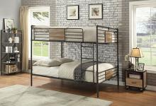 Acme 37720 Harriet bee edelen brantley hand brushed dark bronze finish metal queen over queen bed set