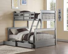 Acme 37755 Harriet bee haley II french gray finish wood under bed drawers twin over full bunk bed set