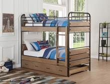 Acme 37760 Adams antique oak finish wood gunmetal twin over twin bunk bed set