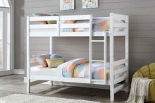 Acme 37785 Harriet bee beeching ronnie white finish wood twin over twin bunk bed set