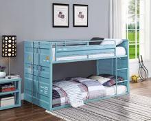 Acme 37810 Wildon home cargo container style twin over twin aqua finish metal bunk bed