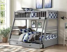 Acme 37840 Taylor & Olive bahia jason gray finish wood twin over full bunk bed with drawers trundle
