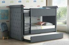Acme 37855 Harriet bee fuchs romana II gray fabric twin over twin bunk bed with trundle