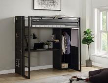 Acme 37965 Wildon home cargo twin loft workstation gunmetal gray finish metal bunk bed