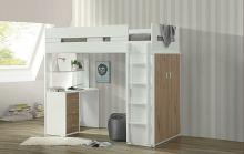 Acme 38055 Nerice white / oak finish wood loft bunk bed set desk drawers armoire