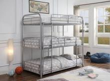 Acme 38100 Zoomie kids bunce cairo silver finish metal triple twin bunk bed set