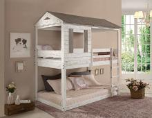 Acme 38135 Zoomie kids mila darlene cottage weathered rustic white finish wood twin over twin bunk bed