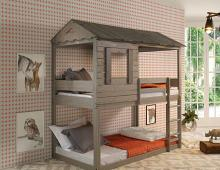 Acme 38140 Zoomie kids mila darlene cottage weathered rustic grey finish wood twin over twin bunk bed