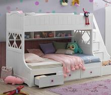 Acme 38150 Meyer white finish wood Twin over full bunk bed set with storage staircase and drawers underneath
