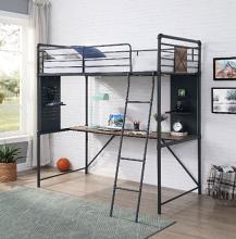 Acme 38310 Wildon home cordelia twin loft workstation sandy black dark bronze hand rubbed finish tubular metal bunk bed