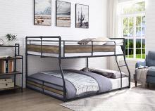 Acme 38320 Wildon home cordelia full over queen low rise sandy black dark bronze hand rubbed finish tubular metal bunk bed