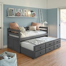 Acme 39235 San marino grey finish wood twin bed with pull out trundle bed with storage drawers