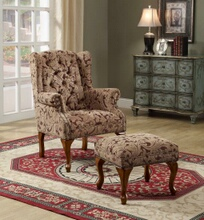 3932B Light brown and burgundy damask patterned fabric upholstered button tufted wing chair with cherry finish legs and nail head trim