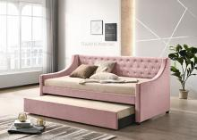 Acme 39380 Alcott hill armijo Lianna pink velvet fabric day bed with pull out trundle