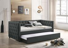 Acme 39450 Alcott hill armijo lianna gray velvet fabric day bed with pull out trundle