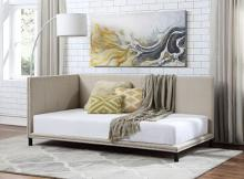 Acme 39715 Alcott hill armijo yinbella beige linen like fabric platform day bed with nail head trim