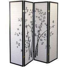 Asia Direct 591-4 4 panel black finish wood bamboo design rice paper room divider shoji screen