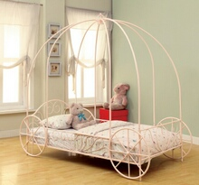 400155T Massi collection powder pink twin size kids princess carriage canopy bed with wheels