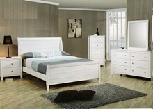 5 pc kelly twin size white finish wood sleigh bedroom set
