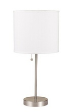 Acme 40042 Vassy brushed steel finish table lamp with basic white cylindrical lamp shade