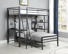 400961T-400962T Porch & Den Ackert gunmetal finish metal frame twin over twin bunk bed with desk