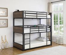 401080T Harriet bee luverne triple Twin matte black metal triple twin over twin over twin bunk beds