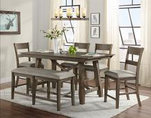VH-4300-6PC 6 pc Gracie oaks hillcrest brown and grey wirebrush finish wood counter height dining table set