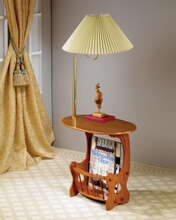 Coaster 4501 Oak finish wood side table with magazine rack and built in brass finish lamp