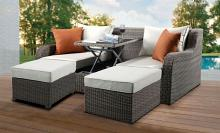 Acme 45010 Winston porter spin salena beige fabric and grey faux wicker patio double lounge sofa with pop up center table and ottomans