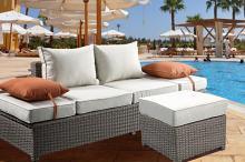 Acme 45015 Brayden studio braxten salena beige fabric and grey faux wicker patio lounge sofa with ottoman