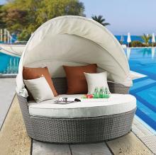 Acme 45025 Latitude run glynn beige fabric and grey faux wicker patio lounge half moon sofa and ottoman with canopy