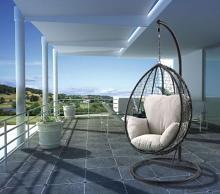 Acme 45030 Arlmont & Co. Shelteridge patio porch swing chair w/ stand beige fabric black wicker/rattan
