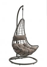 Acme 45105 Uzae grey fabric and charcoal wicker hanging patio porch swing basket chair with stand