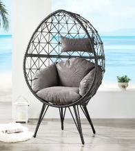 Acme 45111 Dakota fields aeven teadrop patio chair grey fabric gray wicker/rattan