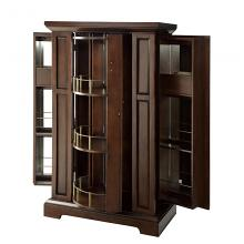 Homelegance 4549 Alcott hill nobles cherry finish wood bar cabinet with turning shelves and wine glass and bottle holders