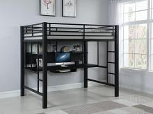460023 Zoomie kids isabella & max altavista black finish metal full loft student bunk bed set