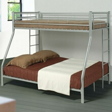 460062 Silver finish metal twin over full bunk bed set