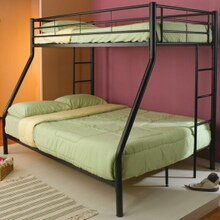 Black finish metal twin over full bunk bed set