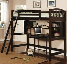 Espresso finish wood twin loft bunk bed with computer workstation underneath