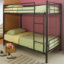 460072B Black finish metal twin over twin bunk bed set